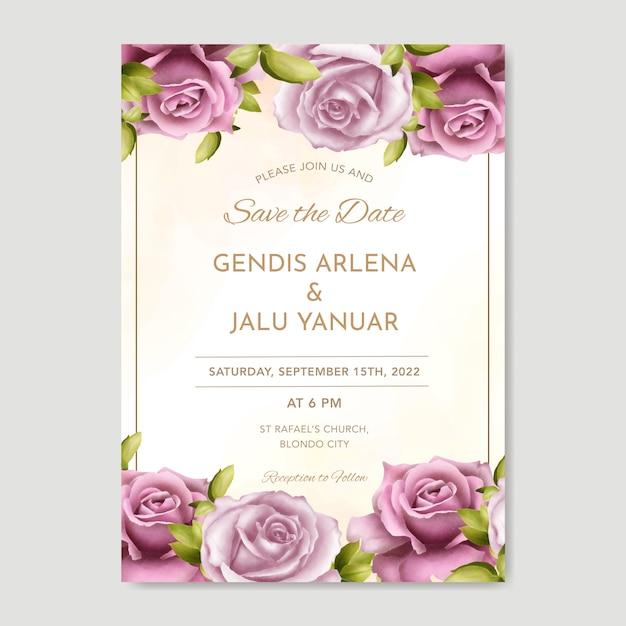Modèle De Cartes D'invitation De Mariage Magnifique Avec Verdure Aquarelle Et Roses Vecteur Premium