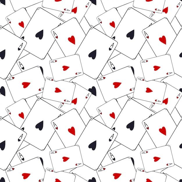 Modèle de cartes à jouer. as de cœur sans soudure. modèle de jeu de cartes. décoration de modèle moderne. Vecteur Premium
