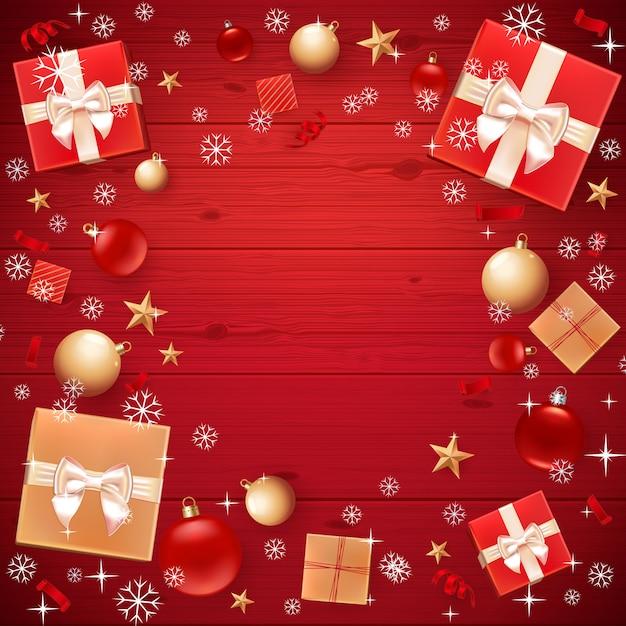 Modèle de cartes de noël, flyer, affiches, invitation à dîner, bannière pour l'affiche de la promotion. avec des boules de noël, étoiles, boîtes-cadeaux et fond. bois rouge Vecteur Premium
