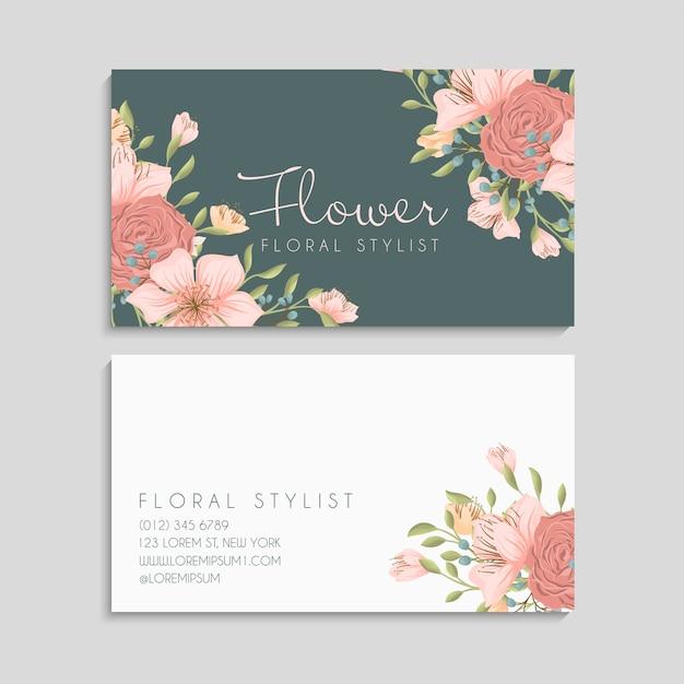 Modèle De Cartes De Visite Fleur Mignon Vecteur gratuit