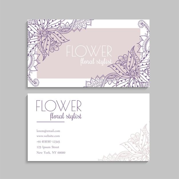 Modèle De Cartes De Visite De Fleurs Vecteur gratuit