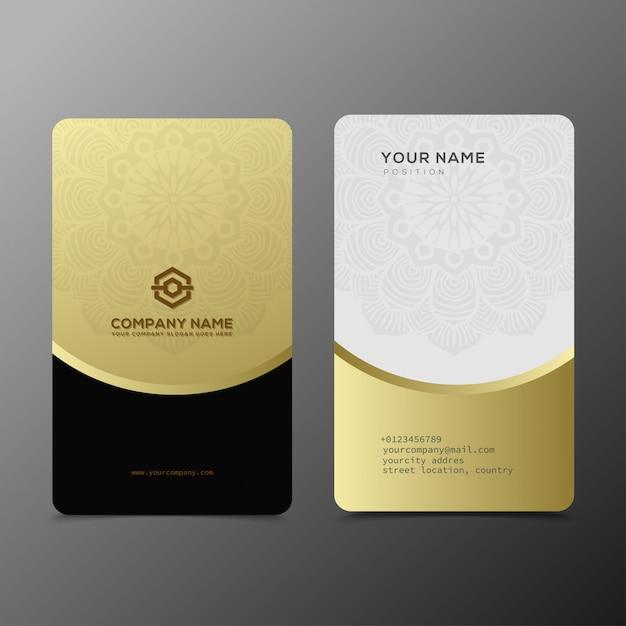 Modèle de cartes de visite de luxe et élégant en or noir Vecteur Premium