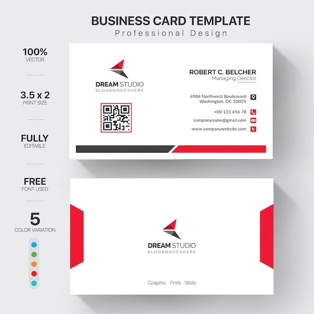 Modèle de cartes de visite modernes avec une variation de 5 couleurs Vecteur gratuit