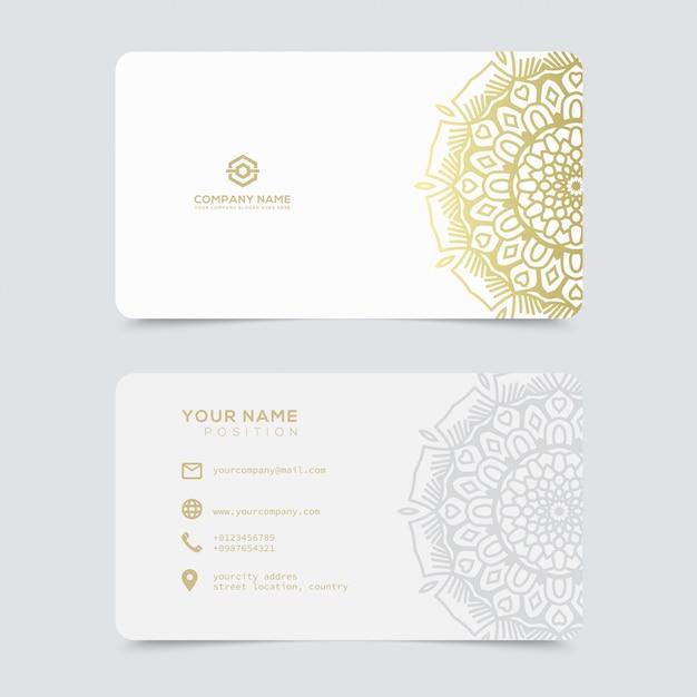 Modèle de cartes de visite en or luxueuses et élégantes Vecteur Premium
