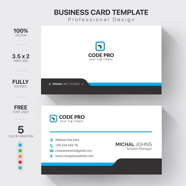 Modèle de cartes de visite professionnelles avec variation de couleur Vecteur gratuit