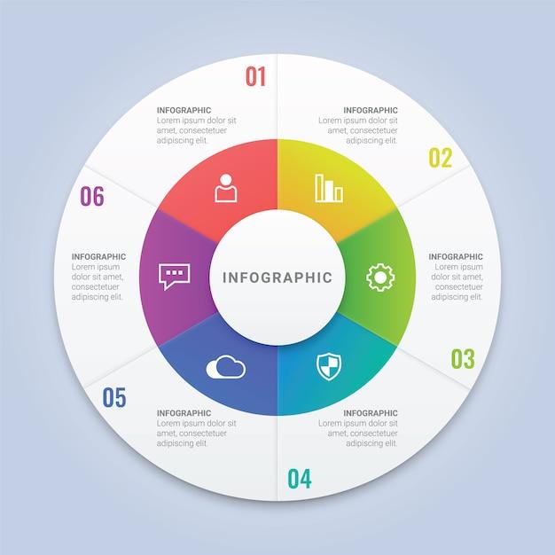 Modèle de cercle d'infographie avec 6 options pour la disposition du flux de travail, diagramme, rapport annuel, conception web Vecteur Premium