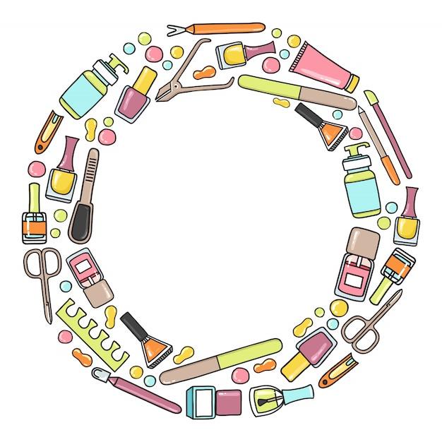 Modèle De Cercle De Manucure Et Prdicure. Vecteur Premium