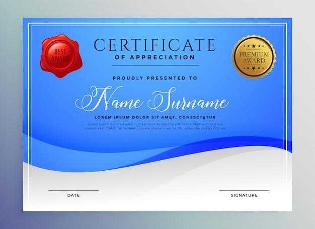 Modèle de certificat abstrait bleu ondulé Vecteur gratuit