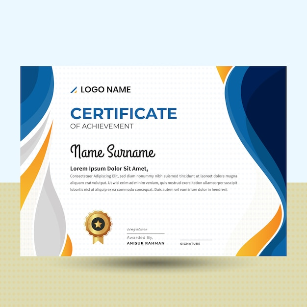Modèle de certificat abstrait ondulé belle Vecteur Premium