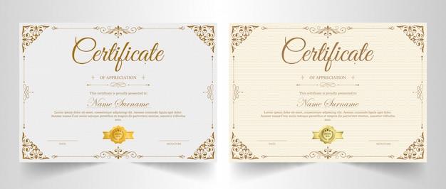 Modèle de certificat d'appréciation avec bordure en or vintage Vecteur Premium