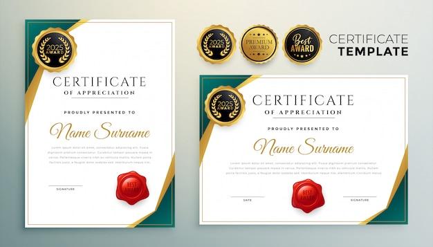 Modèle De Certificat D'appréciation Créatif Design Moderne Vecteur gratuit