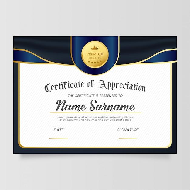 Modèle De Certificat D'appréciation Avec Un Design Classique Vecteur gratuit