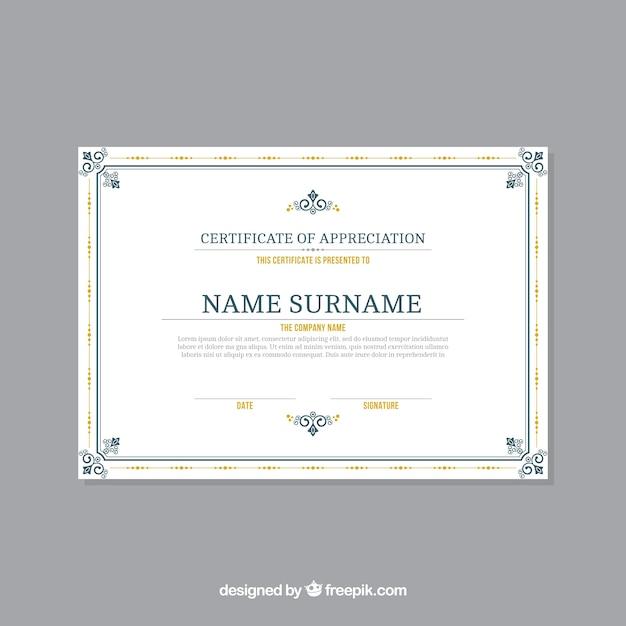 Modèle de certificat avec bordure ornementale Vecteur gratuit