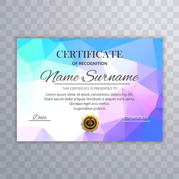 Modèle de certificat coloré abstrait avec la conception de polygone Vecteur gratuit