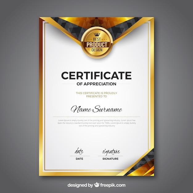 Modèle de certificat avec couleur dorée Vecteur gratuit