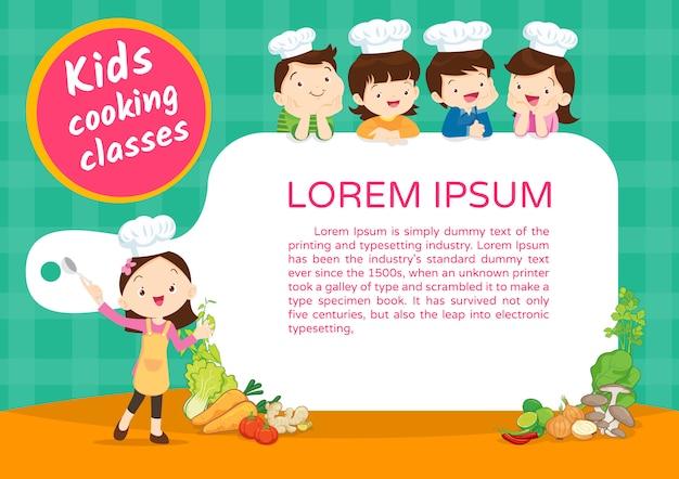 Modèle de certificat de cours de cuisine pour enfants Vecteur Premium