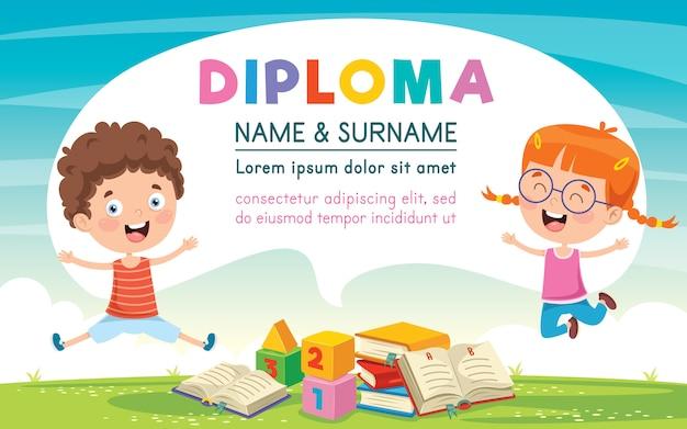 Modèle de certificat de diplôme conçu pour l'éducation des enfants Vecteur Premium