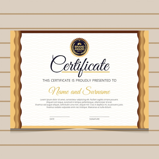 Modèle de certificat de diplôme élégant bleu et or Vecteur Premium