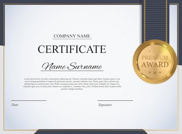 Modèle De Certificat. Diplôme De Récompense Vecteur Premium