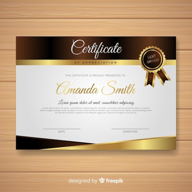 Modèle de certificat élégant avec style doré Vecteur gratuit