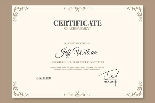 Modèle De Certificat élégant Vecteur gratuit