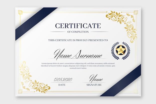 Modèle De Certificat élégant Vecteur Premium