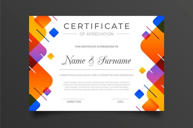 Modèle De Certificat Géométrique Coloré Vecteur gratuit