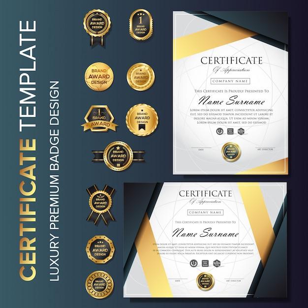 Modèle de certificat de luxe professionnel avec badge Vecteur Premium