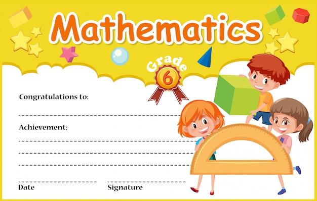 Un Modèle De Certificat Mathématique   Vecteur Premium