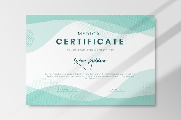 Modèle De Certificat Médical Vecteur gratuit