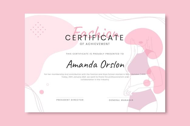 Modèle De Certificat De Mode Monochrome Doodle Vecteur gratuit