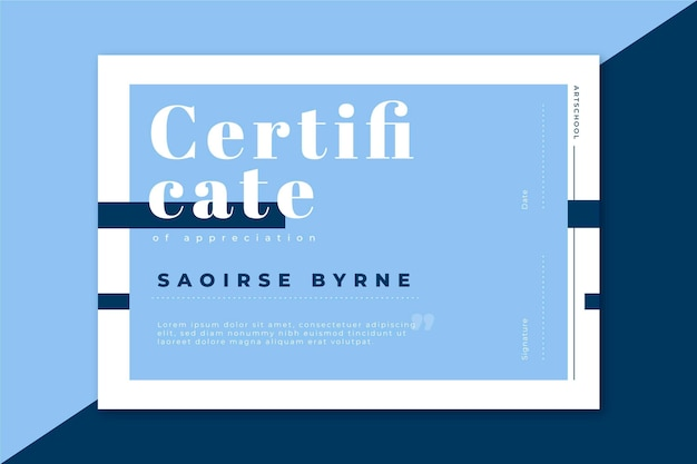 Modèle De Certificat Moderne Dans Les Tons Bleus Vecteur gratuit
