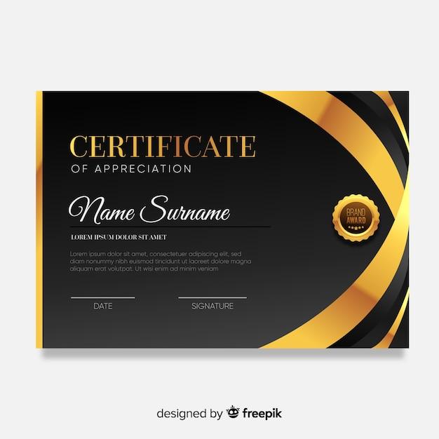 Modèle de certificat moderne avec un design plat Vecteur gratuit