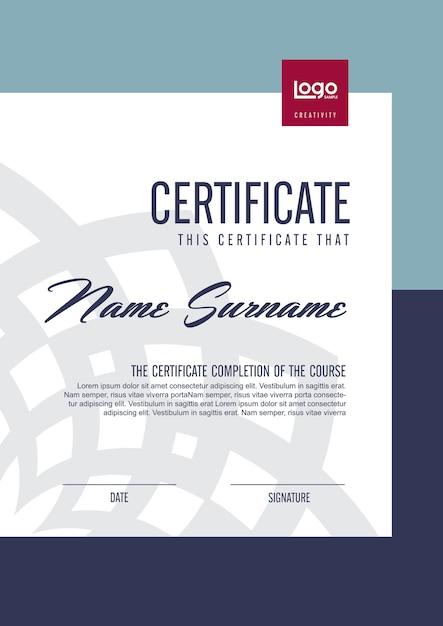 Modèle De Certificat Avec Motif Propre Et Moderne, Modèle Vierge De Certificat De Qualification Avec Illustration élégante Vecteur Premium