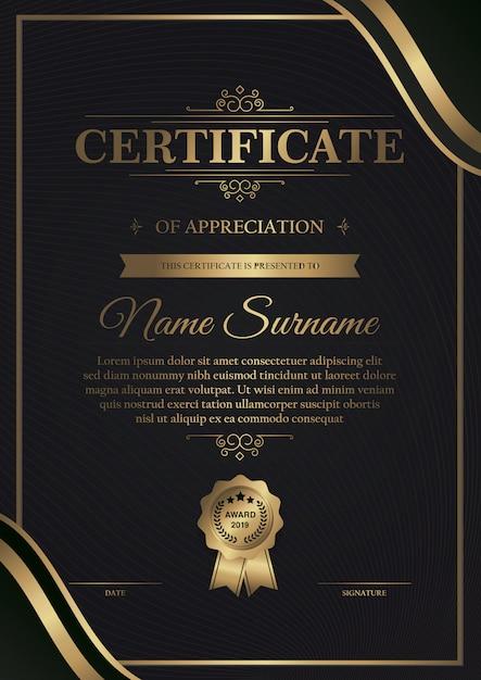 Modèle de certificat noir premium avec or foncé Vecteur Premium