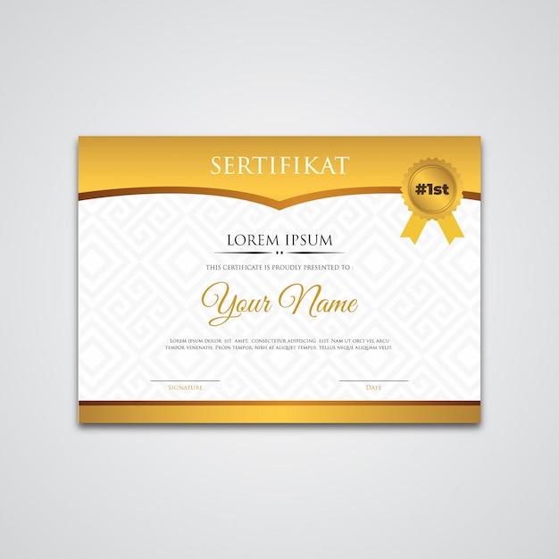 Modèle de certificat en or avec dégradé Vecteur Premium