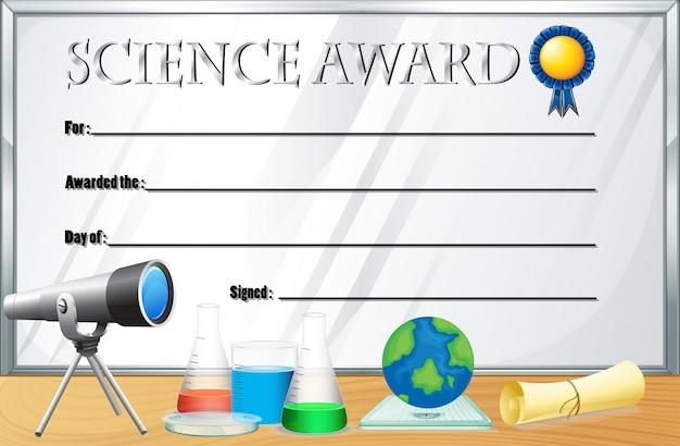 Modèle de certificat pour le prix de la science Vecteur gratuit