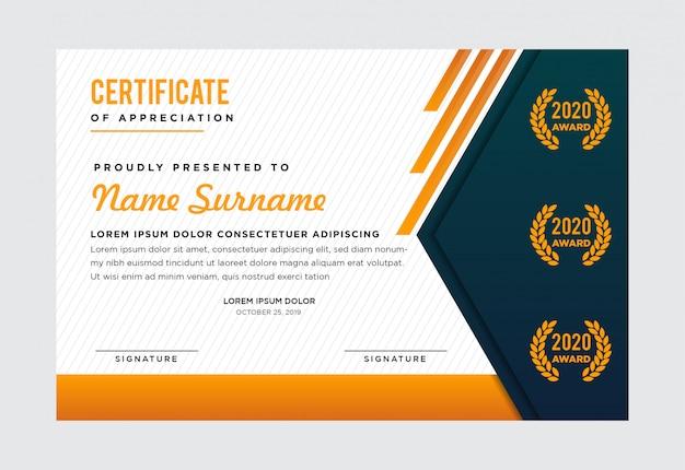 Modèle de certificat premium. vert foncé sur le côté gauche. combinaison avec des couleurs or, vert, gris et blanc Vecteur Premium