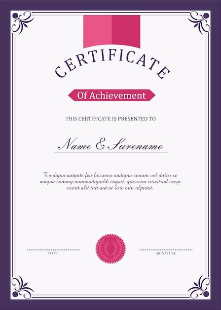 Modèle de certificat Vecteur Premium