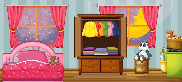 Un modèle de chambre d'enfant Vecteur Premium