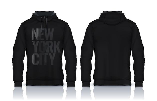 Modèle De Chemises à Capuche.jacket Design, Sportswear Track Vue Avant Et Arrière. Vecteur Premium