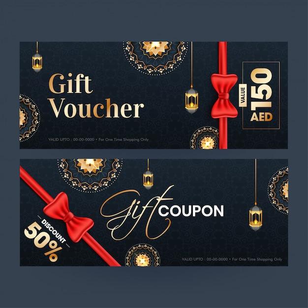 Modèle de chèque-cadeau ou de modèle de coupon avec une offre de remise différente Vecteur Premium
