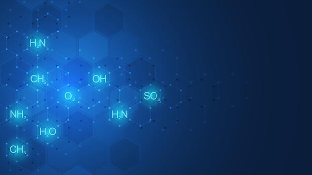Modèle De Chimie Abstraite Sur Fond Bleu Foncé Avec Des Formules Chimiques Et Des Structures Moléculaires. Modèle Avec Concept Et Idée Pour La Technologie De La Science Et De L'innovation. Vecteur Premium