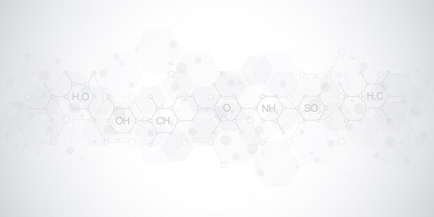 Modèle De Chimie Abstraite Sur Fond Gris Doux Avec Des Formules Chimiques Et Des Structures Moléculaires. Conception De Modèle Avec Concept Et Idée Pour La Technologie De La Science Et De L'innovation. Vecteur Premium