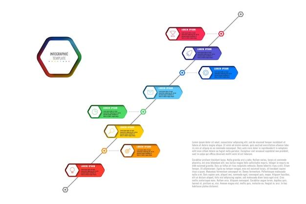 Modèle De Chronologie Diagonale Avec Huit éléments Hexagonaux Réalistes Avec Des Icônes De Fine Ligne Sur Fond Blanc. Diagramme Moderne Avec Des Trous Géométriques Dans Le Papier. Visualisation Pour Les Présentations Vecteur Premium