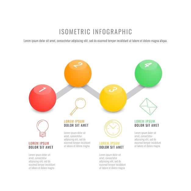 Modèle de chronologie infographique isométrique avec des éléments ronds 3d réalistes. Vecteur Premium