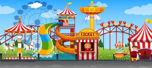 Un modèle de cirque amusant Vecteur Premium