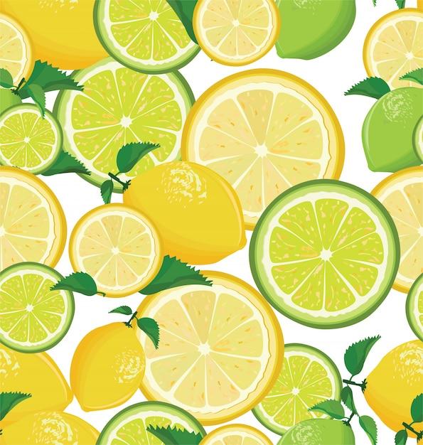 Un modèle de citron et de chaux sans soudure sur fond blanc Vecteur Premium