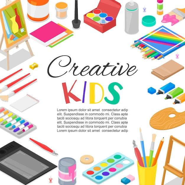 Modèle de classe d'art, d'éducation et de créativité créé par les enfants Vecteur Premium