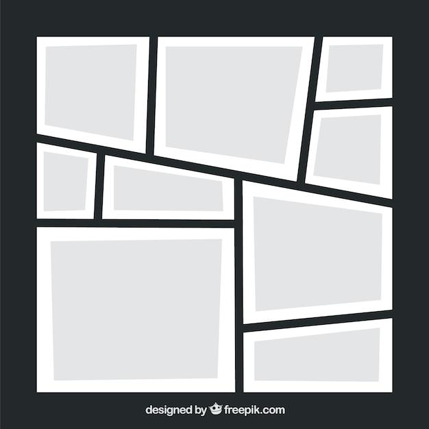 Modèle De Collage De Cadre Photo Noir Vecteur gratuit